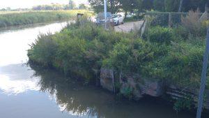 km 0+450 rzeki Pasłęki, odejście kanału portowego, widok na nabrzeże, stan istniejący